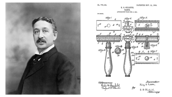 King C Gillette and his patented razor drawing
