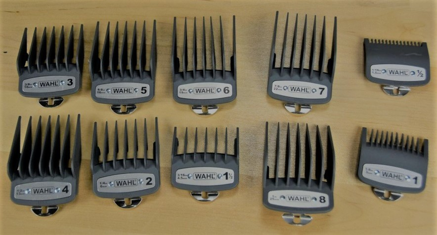 The different hair clipper guards that come with the Wahl elite pro box set