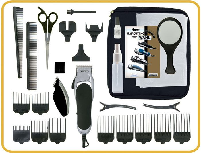Items found in the box of the Wahl Chrome Pro Piece Complete Haircutting Kit